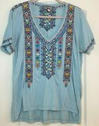 💕 Johnny Was Sz Large Sky Blue Geometric Embroidered Tee Tunic Gently Worn