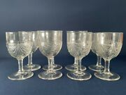 Mckee And Brothers Clear Pressed Glass Water/wine Glasses Fan With Diamond C.1880s