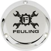 Feuling 9156 Derby Cover - Gear Cross Wrench Logo - Chrome