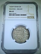 Ngc Ms63 1628 Spanish Silver 2 Reales Bu Antique 1600's Two Bits Pirate Coin