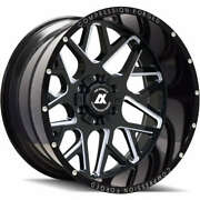 24x12 Axe 5.0 Compression Forged Black Milled Wheels 8x6.5 Chevy Gmc Dodge 8x165