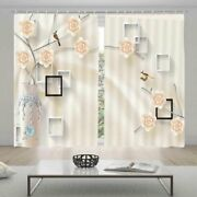 Black White Picture Frame 3d Blockout Photo Print Curtain Fabric Curtains Window