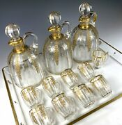 Exq Antique French Liqueur Service, Baccarat, 3 Carafe 9 Cups, Tray, Gold Enamel