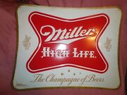 Miller High Life Champagnge Of Beer Tin / Metal Sign 20 X 16 - Brand New Cool
