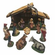 Vintage Nativity Set 11 Pieces Stable Manger Chalkware Made In Italy Christmas
