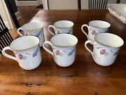 Lenox Chinastone Poppies On Blue Set Of 6 Cups/mugs Discontinued Pattern Euc