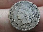 1888 Indian Head Cent Penny- Vg/fine Details