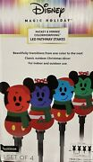 Disney Magic Holiday Mickey Mouse Color Morphing Led Pathway Stake Lights Nib