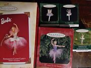 Hallmark Barbie As Candy Cane Ballerina Dancer With 4 Other Ornaments