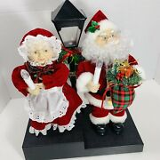 Holiday Trim Animated Mr. And Mrs. Claus And Light Post Lighted Motion Musical 12
