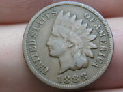 1888 Indian Head Cent Penny- Fine/vf Details