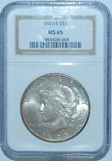 1923 S Ngc Ms65 Vam-1c Top-50 Pitted Reverse Peace Silver Dollar