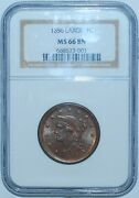 1856 Ngc Ms66bn Brown Slanted 5 Braided Hair Large Cent
