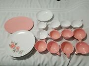 Vtg Lot Of 22 Boonton Ware Flowered Plates Pink White Cups Bowl Platter Somerset