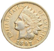 1897 Vf Us Indian Head Cent Penny Exact Coin Free Shipping 8353