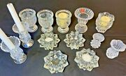 Lot Of 13 Candle Holders Bud Vases Tooth Pick Lead Crystal Clear Glass Wedding