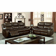 Living Room Brown Leatherette 2pc Reclining Sofa And Loveseat Plush Cushion