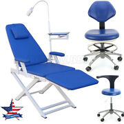 Dental Foldable Examination Chair With Led Light/ Dentist Pu Mobile Chair Stool