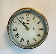 Superb Goliath 19thc 9andrdquo Brass Case Ships Bulkhead Clock By New Haven