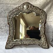 1911 Henry Mathews Solid Silver Front Free Standing Dressing Table Mirror