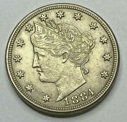 1884 Liberty V Nickel Au Condition Rpd Repunched Date Key Date 5c Rare Coin