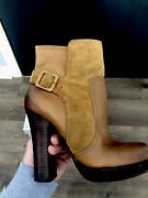 Jessica Simpson Women's Leather Suede Callian Chestnut Ankle Boots Heels Size 7