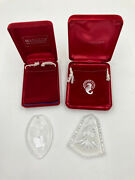 Waterford Crystal 2 Ornament Lot Stocking Christmas Tree W/ Boxes And Pouches