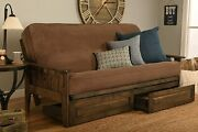 With Drawers Rustic Walnut Frame And Mattress Set, Futon Sofa Bed Full Size