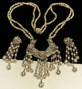 Miriam Haskell Necklace Earrings Rare Vintage Pearl Rhinestone Dangle Signed A8