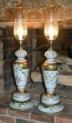 Two Rare 34 Antique 1920 Venetian Murano Italian Glass Lamps And Crystal Shades