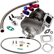 Universal Gt35 Gt3582 Turbocharger T3 Flange 4 Bolts .63 A/r 600+hp W/oil Lines