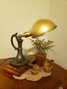 1920's Vintage Lightolier Table Or Desk Lamp With Pewter Finish And Brass Shade