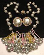 Miriam Haskell Set Rare Vintage Easter Parade Pearl Necklace Earrings Signed A54