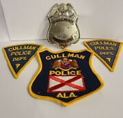 Vintage Cullman Alabama Police Department Reserve Badge And Uniform Patches