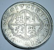 1721 Spanish Silver 2 Reales Genuine Antique Colonial 1700and039s Two Bit Pirate Coin