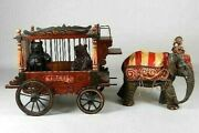 Antique 1920and039s Barnum And Bailey Circus Carved Wood Wooden Wagon Elephant Bears