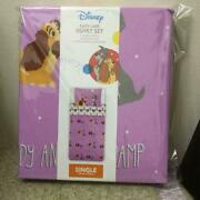 Disney Lady And The Tramp Single Comforter Cover 130andtimes200mm And Pillow Case Unused