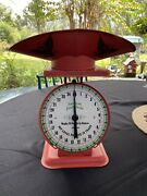 Vintage American Family Red Kitchen Scale Country Farm House General Store Eagle