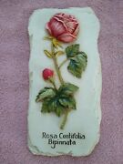 Decoline Rose Wall Plaque 3d Faux Slate 8.5x4 Handmade And Hand Painted Vintage
