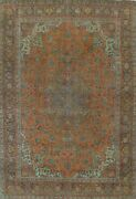 Semi-antique Distressed Floral Traditional Oriental Area Rug Hand-knotted 10x13