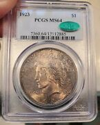 1923 Peace Silver Dollar Pcgs Ms 64 Cac
