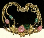 Miriam Haskell Necklace Rare Vintage Early Gilt Purple Pink Green Art Glass A6