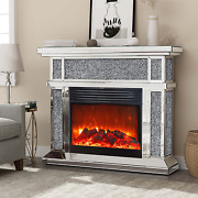 Mirrored Electric Fireplace Fireplace Mantel Freestanding Heater Firebox With R
