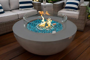42 Modern Concrete Fire Pit Table Bowl W/ Glass Guard And Crystals In Gray By A