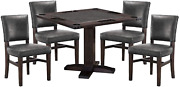 Rustic Reversible Game Table With Whiskey Barrel Finish And 4 Matching Game Chai