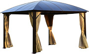 Aleko Gzbhr02 Hardtop Gazebo With Removable Mesh Walls And Curtains - 12 X 12 Fe