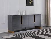 Best Master Furniture Theona High Gloss Lacquer Sideboard/buffet With Gold Trim