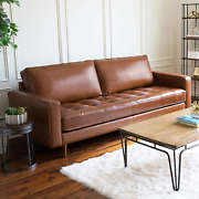 Mid Century Top Grain Leather Sofa Brown Solid Bohemian Eclectic Mid-century Mod