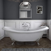 73 Acrylic Double Ended Slipper Clawfoot Bathtub With Chrome Freestanding Plumb