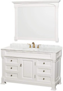 Wyndham Collection 55 Traditional Single Bathroom Vanity With White Carrera Mar